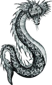 sea serpent black vector illustration