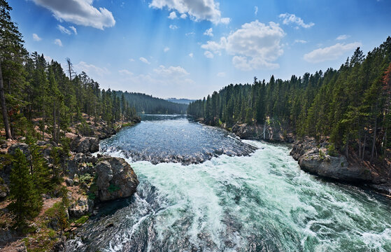 Yellowstone River above the Upper Falls on a Summer day. Yellowstone National Park, Wyoming