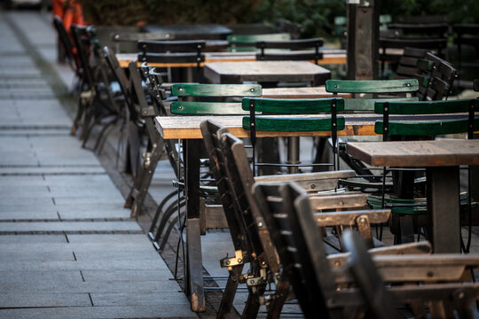 Empty terrace and patio of a bar restaurant of Belgrade, Serbia, closed due to the coronavirus covid 19 lockdown measures to prevent the spread of the disease