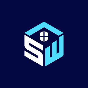 SW Letter Modern Real Estate Property Logo and Icon Design Editable Vector Website Favicon