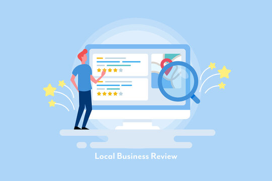 Customer reviewing local businesses online, local seo concept. Flat design web banner illustration with character.