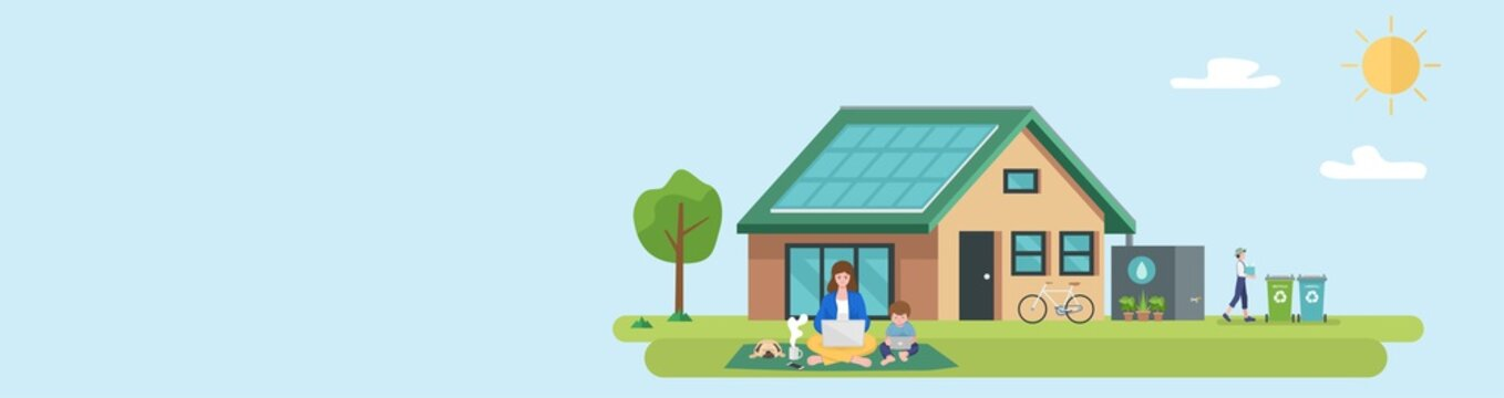 Illustration of happy family and eco friendly sustainable modern house