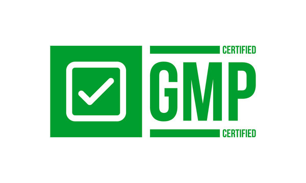 gmp certified ribber stamp, vector illustration isolated on white background