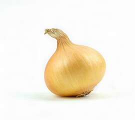 One natural onion isolated on white background.
