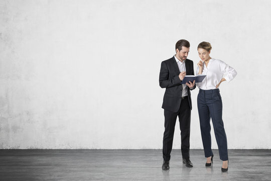 Businessman and businesswoman talking, mock up