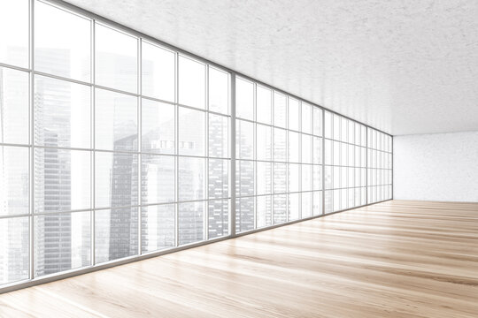 Large empty white and wooden hall with big window, office room