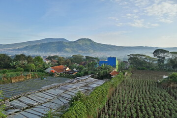 Beautiful mountain scenery in the early morning at Bandung, Indonesia