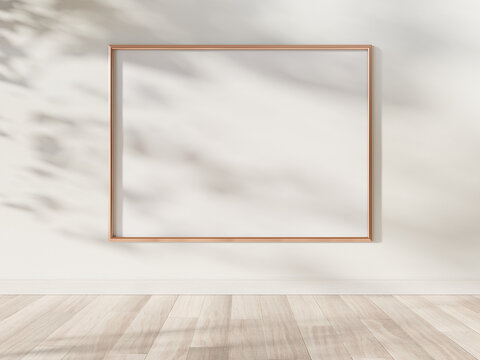 Golden frame hanging in bright interior mockup. Template of a picture framed on a wall 3D rendering