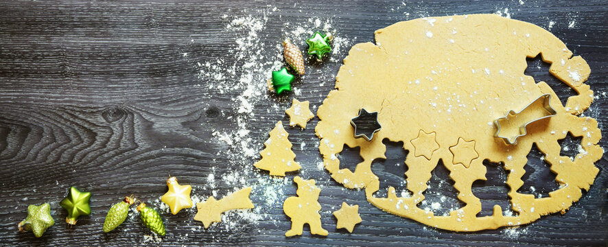 Christmas or advent bakery at home, header, banner, headline, panorama