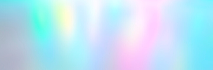 Blurred pastel multicolored background from lights. Iridescent holographic abstract aurora light neon colors backdrop. banner