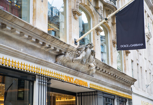 London, UK - August 13, 2019:  Dolche and Gabbana logo and designer shop at Old Bond street in Mayfair. Old Bond street is the best destination for designers luxury brands and jewellery