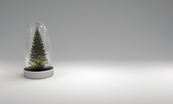 Christmas tree in glass cover on gray background. 3D illustration