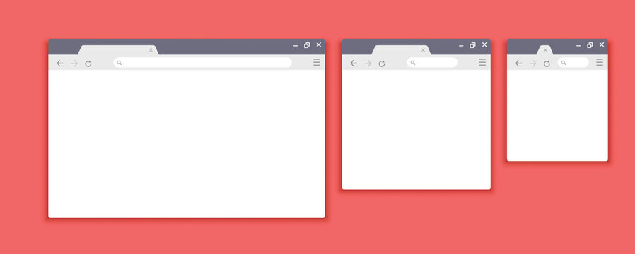 Browser mockups. Website interface for different devices. Vector browser window