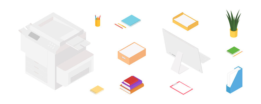 Office supplies set with computer and printer. Isometric vector illustration in flat design. Working from home, office, doing homework, school.