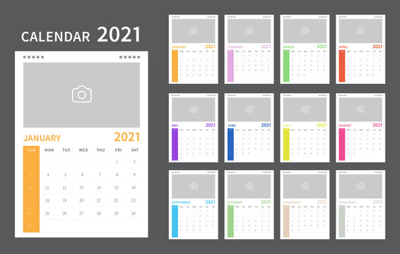 Calendar 2021 colorful template. Calendar template design with place for photo. Vector illustration
