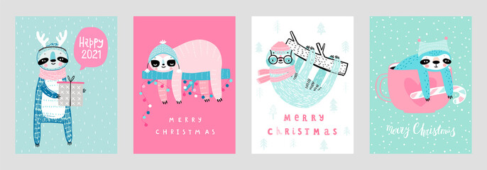 Wall Mural - Christmas cards with Cute Sloths celebrating Christmas eve, handwritten letterings and other elements. Funny characters.