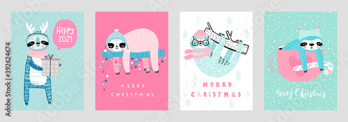 Wall mural Christmas cards with Cute Sloths celebrating Christmas eve, handwritten letterings and other elements. Funny characters.