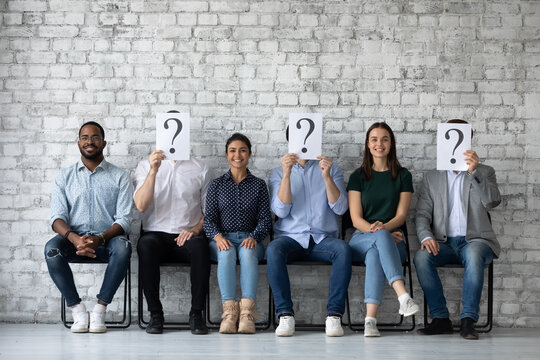Winners of contest. Happy smiling job applicants of different gender race being chosen on vacant places among diverse candidates, three lucky people are recruited while other seekers lost their chance