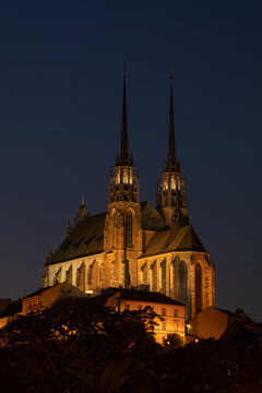 Illumianted Cathedral of St. Peter and Paul. City of Brno - Czech Republic - Europe.