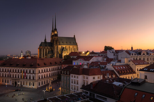 Evening cityscape view on the old town with famous cathedral in Brno city, Czech republic