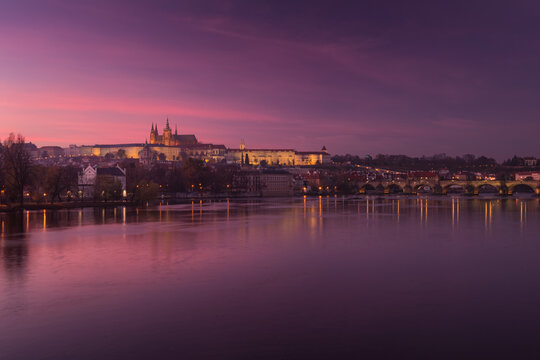 Evening view of the Prague castle and Charles bridge in after the sunset, Czech Republic