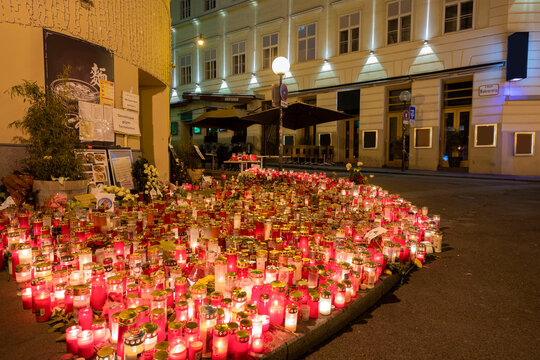 Beautiful candle light in viennas city center after terrorist attack
