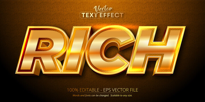 Rich text, shiny gold style editable text effect