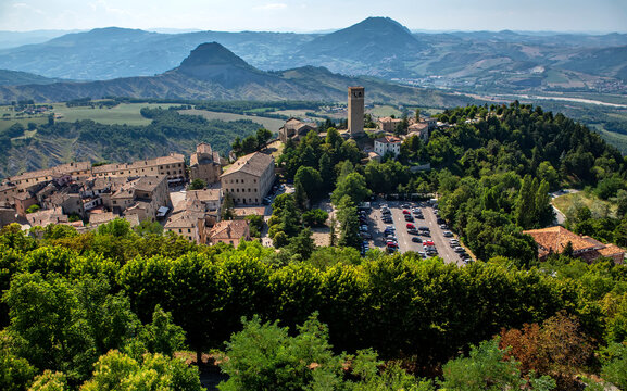 San Leo village, hub of the historic Montefeltro region, in Emilia Romagna, Italy