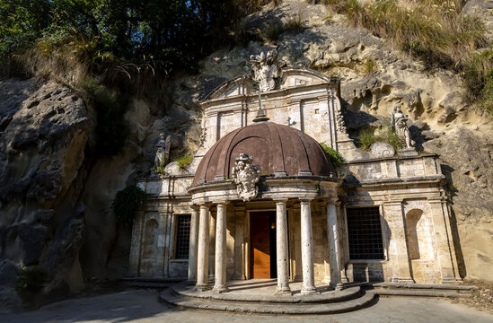 The small temple of Sant'Emidio alle Grotte is one of the most important monuments of Ascoli Piceno and represents a valuable prototype of the Baroque religious art of the Marche, Italy.