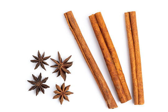 anise star and cinnamon stick isolated on white background