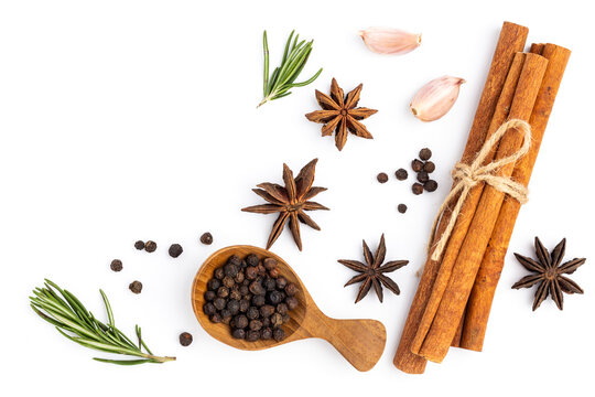 anise star with cinnamon stick ,Garlic and Pepper isolated on white background