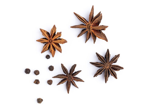 anise star with Pepper isolated on white background