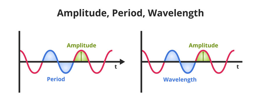 Vector scientific or educational illustration amplitude, period, and wavelength. The icon is isolated on a white background. Wavelength – spatial period, amplitude– maximum value of the period.