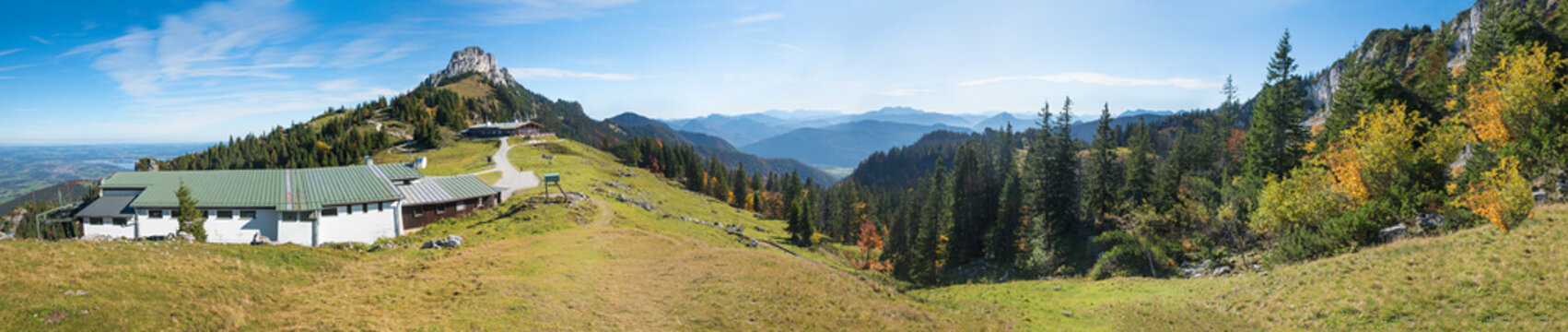 upper station of Kampenwand mountain, alpine panorama Chiemgau alps, bavaria
