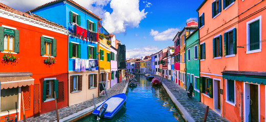 Most colorful town (places) . Burano fishing village with painted houses. Island near Venice. Italy travel and landmarks