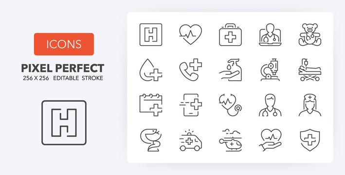 medical care 1 line icons 256 x 256
