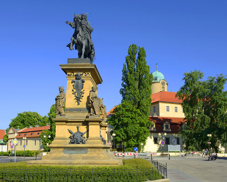 Podebrady - The main square and a statue of George of Podiebrad was King of Bohemia. Podebrady is a historical spa town in the Central Bohemia Region, Czech Republic