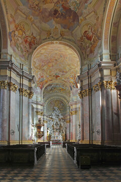 Rajhrad - Interior of the baroque church of Benedictine monastery and abbey of Rajhrad. It is the oldest monastery in Moravia, Czech Republic