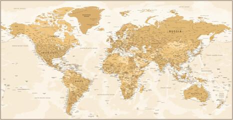 World Map - Golden Vintage Political Topographic - Vector Detailed Layered Illustration