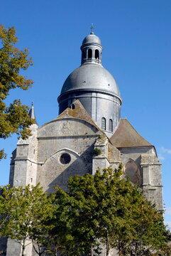 ville de Provins, église dans les arbres en centre ville, département de Seine-et-Marne, France