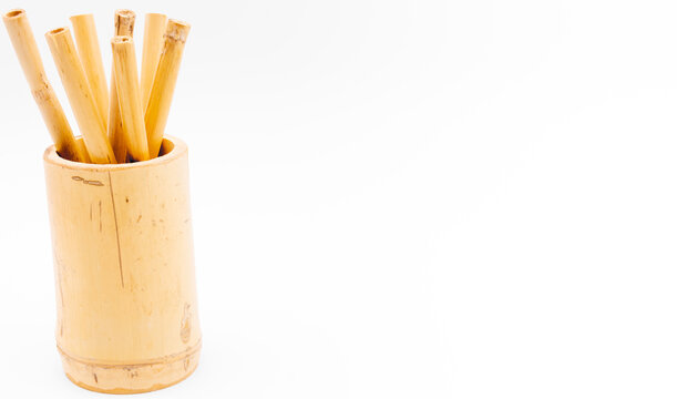 Bamboo composition on white studio background