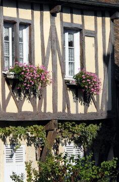 ville de Provins, fenêtre fleurie d'une maison à colombages de la Cité Médiévale, département de Seine-et-Marne, France