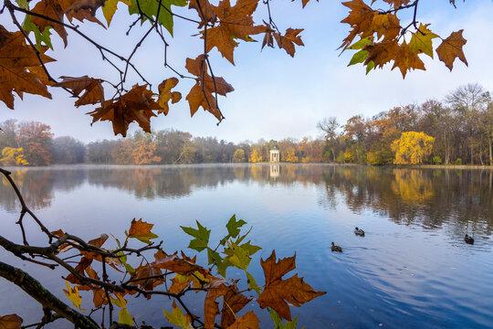 Herbstspaziergang im Nymphenburger Schlosspark in München - See und Monopteros im morgendlichen Nebel