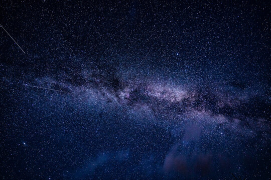 Overhead milky way with stars in clear summer night.   Country side.