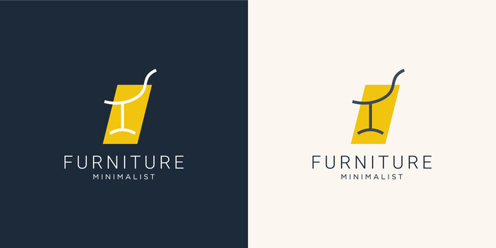 Minimalist furniture logo with chair for store.outline logo design, style, line.abstract,interior,monogram,Furnishing design template illustration. Premium Vector