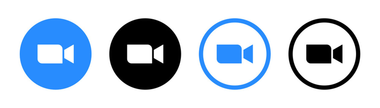Zoom Video Communications. Zoom logo. Application for video communications with cloud platform for video and audio conferencing, chat and webinars. Blue camera icon. Kyiv, Ukraine - November 15, 2020