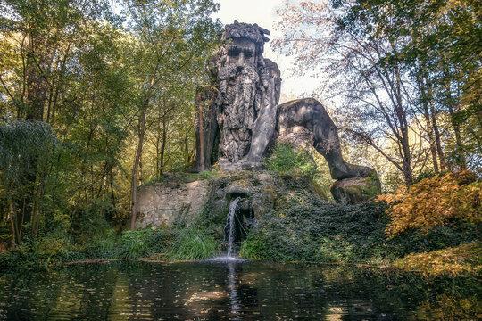 Landgraaf, Netherlands, October 26, 2019:  14 meter high giant of the Apennines in the folies forest of Parc Mondo Verde