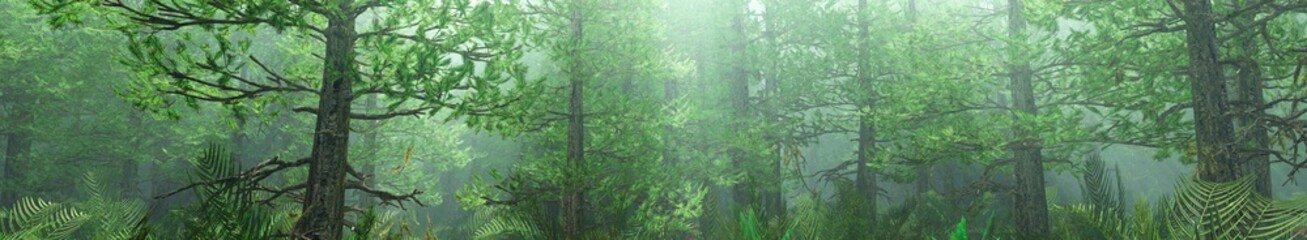 Pine forest in the fog, Christmas trees in the morning in the fog, forest in the haze, 3D rendering