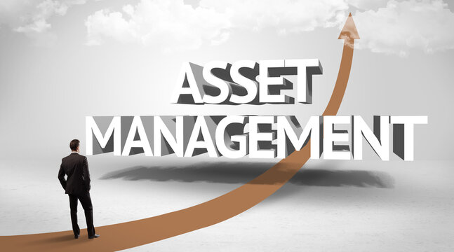 Rear view of a businessman standing in front of ASSET MANAGEMENT inscription, successful business concept
