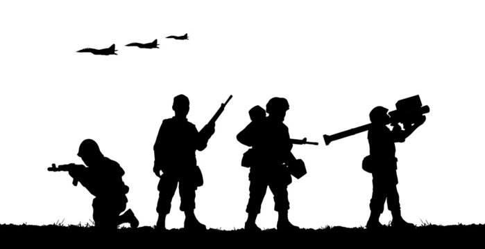 Military soldiers with guns in field. Vector silhouette